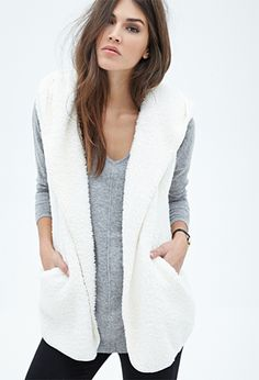Hooded Faux Shearling Vest | FOREVER21 - 2055879906 - gray $22.80