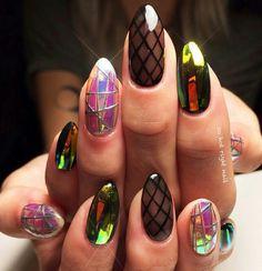 Fishnet & chrome nail art, mylar nails                                                                                                                                                      More                                                                                                                                                                                 Más