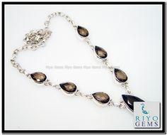 Smoky Quartz Silver Necklace Riyo Gems www.riyogems.com