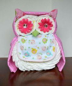 Owl diaper cake.