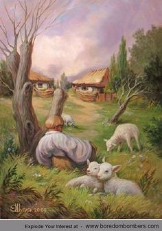 Hidden Images: Optical Illusion Paintings by Oleg Shuplyak Image Illusion, Illusion Pictures, Illusion Kunst, Optical Illusion Paintings, Illusion Drawings, Optical Illusions Drawings, Hidden Images, Ouvrages D'art, Illustration