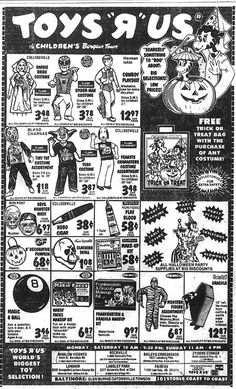 1980 Halloween Toys R Us ad- I find myself longing for the days of these prices. especially when you consider that we had so much less growing up in the way of toys than kids today do. How did that happen? Spider Man Halloween, Halloween Toys, Retro Halloween, Happy Halloween, Halloween Costumes, Toys R Us Ad, 1980s Toys, Retro Ads, Vintage Ads