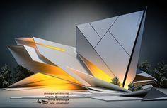 Exterior artwork concept&design by Rhino Architecture, Conceptual Model Architecture, Dynamic Architecture, Maquette Architecture, Theater Architecture, Origami Architecture, Pavilion Architecture, Concept Architecture, Futuristic Architecture