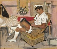 View Marine reading by Yannis Tsarouchis on artnet. Browse upcoming and past auction lots by Yannis Tsarouchis. Henri Matisse, Greek Paintings, Fantasy Art Men, Queer Art, Art Of Man, Charming Man, Portraits, Gay Art, Life Drawing