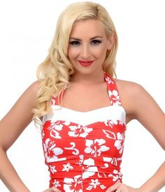 Inspired by the Aloha lifestyle, darling? The Kalani one piece bathing suit from Lolita Girl features a beautiful red is...Price - $108.00-wa3LdXro