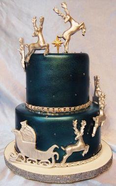 Santa & His Reindeer! - Cake by Kendra's Country Bakery