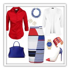 """""""Red, White and Blue"""" by mrseclipse ❤ liked on Polyvore featuring Christian Louboutin, VBH, Kate Spade, Milly and Tory Burch"""