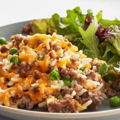Cheesy Ground Beef and Rice Casserole Hidden Valley Ranch Beef Casserole Recipes, Ground Beef Casserole, Rice Casserole, Ground Beef Rice, Ground Beef Recipes, Ground Beef And Rice Recipes For Dinner, Rice Dishes, Food Dishes, Ranch Meatloaf