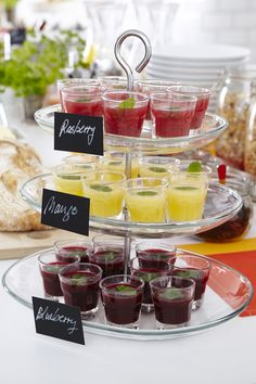 Create a New Year's Eve drink display with an IKEA KVITTERA 3-tier serving platter! You can detach the plates and combine and vary the height as you like. The serving stand is a festive way to serve your guests in style.