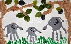 See how to make this 3D kids collage art project using a paper bag. This Handprint Elephant Jungle Craft can be made as a collaborative family activity!