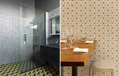 Dwell Patterns by Heath Ceramics. Pattern on the right in similar color for shower walls.