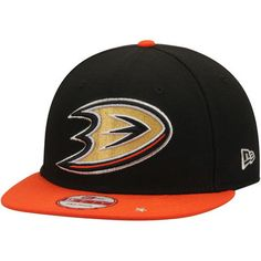 69fb4c6ffc0 Men s New Era Black Orange Anaheim Ducks Star Trim Commemorative  Championship 9FIFTY Snapback Adjustable Hat