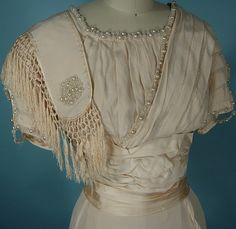 Wedding Gown (close-up of bodice)  -  c 1909
