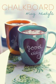 Chalkboard Paint on Mugs... Dress Up a Cheap, Plain Mug with Chalkboard Paint - Clever & Fun Idea!