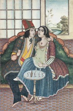 Amorous couple, 19th century, Qajar period, Iran