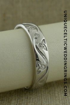 Men's Trinity Knot Wedding Ring with Single Diamond — Unique Celtic Wedding Rings Celtic Trinity Knot, Celtic Wedding Rings, Two Tones, Bangles, Bracelets, Round Diamonds, Knots, Band, Unique