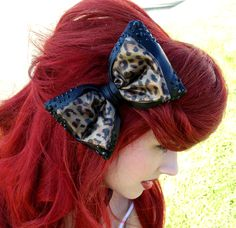 CrystalEncrusted Black and Leopard Print Bow by CRSparkleGalaxy, $35.00