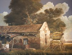 Jorge Frasca, Pintor realista contemporáneo Cool Landscapes, Landscape Paintings, Rio Grande, Hispanic American, Gaucho, Mexico, Cabin, Watercolor, Nice