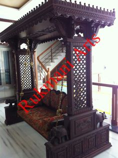 Royal indian rajasthani jodhpur hand carved wooden swing for Living room jhula