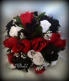 Black White Red ROSES Bridal BOUQUET