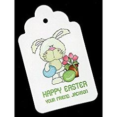 Easter Gift Tags, Bunny with Eggs and Tulips, Personalized Set of 25 - coach tieks Easter Gift, Happy Easter, Tulips, Coach Discount, Discount Sites, Gift Tags, Free Pattern, Bunny, Snoopy