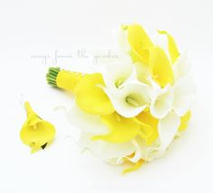 Yellow White Calla Lily Bridal Bouquet Grooms Boutonniere Silk Wedding Flower Calla Lily Bridal Bouquet Yellow White