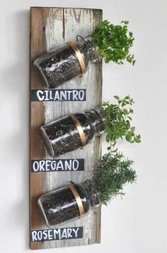 upcycle Mason jars and reclaimed wood and create an indoor herb garden.