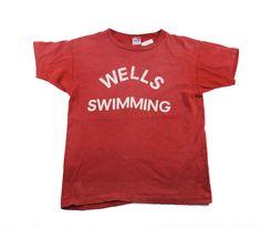 70's バータグ チャンピオン WELLS SWIMMING Tシャツ 表記(M) 色褪せレッド