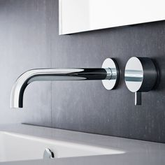 Fukasawa Wall Mount Washbasin Mixer and Outlet - Chrome - 5 Star, 5 Litre WELS rating - Fantini Fukasawa Designer Tapware Collection - Rogerseller Bathroom Heater, Bathroom Tapware, Bathroom Fixtures, Bathrooms, Bathroom Mirrors, Naoto Fukasawa, Bathtub Decor, Boffi, Bathroom Inspiration