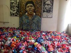 Artist Mbongeni Buthelezi paints with recycled plastic bags rather than traditional paint. Instead of a brush, he uses a heat gun. Recycled Plastic Bags, Traditional Paint, South African Artists, Portrait Images, Art Classroom, Meet The Artist, Abstract Art, Sculptures, Heat Gun
