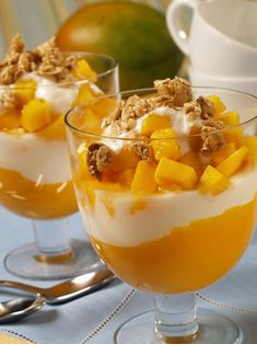 Mango Yogurt Parfaits Mango Yogurt Parfaits Ingredients: 2 large, ripe mangos, peeled, pitted and cubed 3 cups low fat vanilla yogurt 6 tbs low fat granola