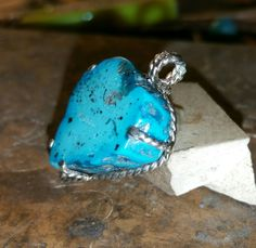Genuine Kingman Arizona turquoise...too pretty to cover up in a bezel setting...pendant for a necklace..Will be available at The Hippie tepee barn sale in October!