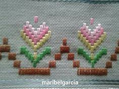 Week 37 of the YearOfStitch : Plaited Double Cross Stitch Bargello Needlepoint, Needlepoint Stitches, Needlework, Hand Embroidery Flowers, Hand Embroidery Patterns, Ribbon Embroidery, Machine Embroidery, Hardanger Embroidery, Cross Stitch Embroidery