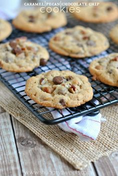 Caramel Pecan Chocolate Chip Cookies - Shugary Sweets #delicious #recipe #cake #desserts #dessertrecipes #yummy #delicious #food #sweet