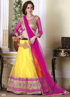 Lively Yellow And Magenta Net Embroidery Petch Border Work  A Line Lehenga Choli http://www.angelnx.com/Lehenga-Choli/Wedding-Lehenga-Choli