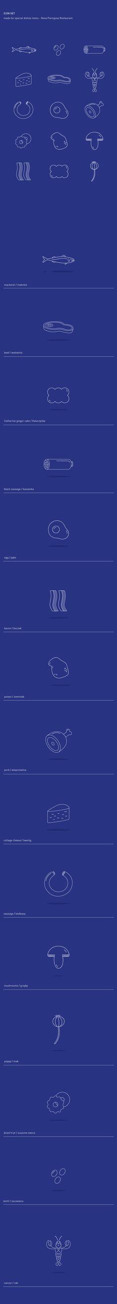 Icon Set - restaurant menu by Aga Borzyszkowska, via Behance