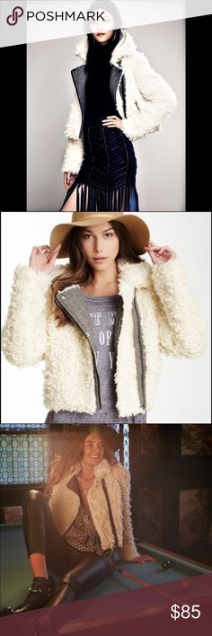 FREE PEOPLE SHERPA MOTO JACKET A classic Free People moto jacket constructed in shaggy faux fur. Herringbone trim accents the off-center zip placket and hip pockets, and a fold-over collar completes the charming silhouette. Lined. Free People Jackets & Coats