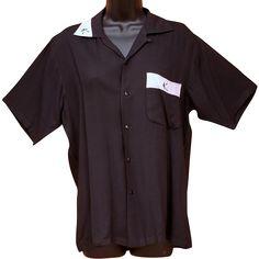 Men's Vintage Rayon Shirt Black and Pink 1950s Size Medium Md M