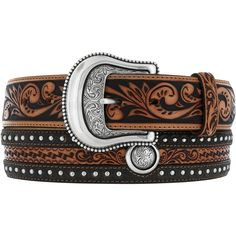 Justin Southern Moon Tooled Western Belt with Silver Studs & Conchos
