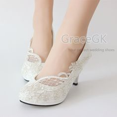 e94d4bb7d273 Lace white ivory crystal Wedding shoes Bridal flats low high heel pump size  5-12