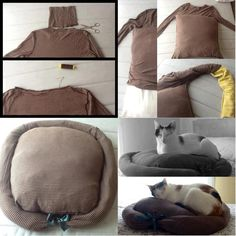 DIY cat bed made from an old sweater! great way to reuse old clothes Crazy Cat Lady, Crazy Cats, Lit Chat Diy, Diy Cat Bed, Diy Dog, Diy Bett, Old Sweater, Jumper, Sweaters