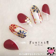 eee0dfa4cef ネイル 画像 FUNTAS hair&nail 1314889 カラフル ゴールド 青 赤 白 フラワー 変形フレンチ 和 ワンカラー