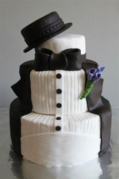 Wedding Cakes - three circle tiered groom's cake -tuxedo with top hat