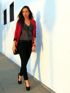 Black and white dots with a red blazer