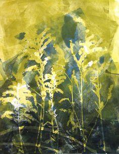 "Monotype print by April Jordan.  ""Field of Goldenrods."""