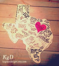 Guest book: Custom wood state cut out - for Oklahoma going away party/graduation Farewell Parties, Farewell Gifts, Retirement Parties, Grad Parties, Birthday Parties, Moving Away Parties, Texas Party, Leaving Party, Bon Voyage Party