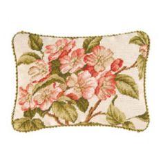 Williamsburg Appleblossom Floral Needlepoint Pillow