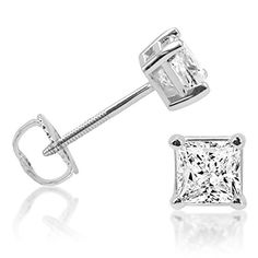 IGI Certified 1cttw. Princess Cut Diamond Stud Earrings 14K White Gold Screw-Backs *** Click image for more details.