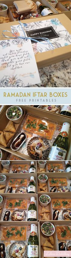 Iftar Boxes. Make for your neighbors! We included three stationery pieces; a hadith of Prophet Muhammad (pbuh), a little note from our family explaining Ramadan, and an iftar menu card. You can download the editable and printable files here: https://drive.google.com/file/d/0B0dSz98G3ApJTk1ZOVRxNkx6ZG8/view Please re-pin and share!