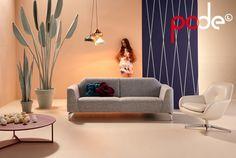 Swipe bank, Sparkle fauteuil en Byte salontafel - Pode. Ontwerpers: Thijs Smeets, Jet Dircks.